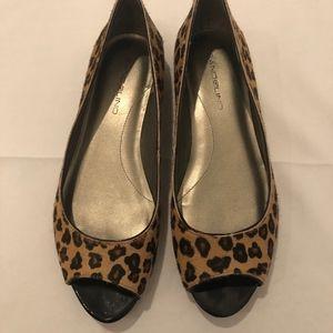 Leopard calf hair open toe flats